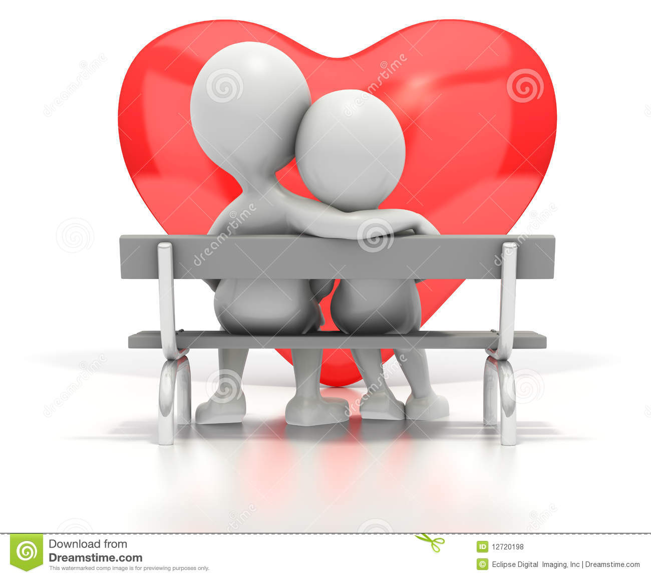 Couple Sitting On Park Bench By Heart Stock Illustration