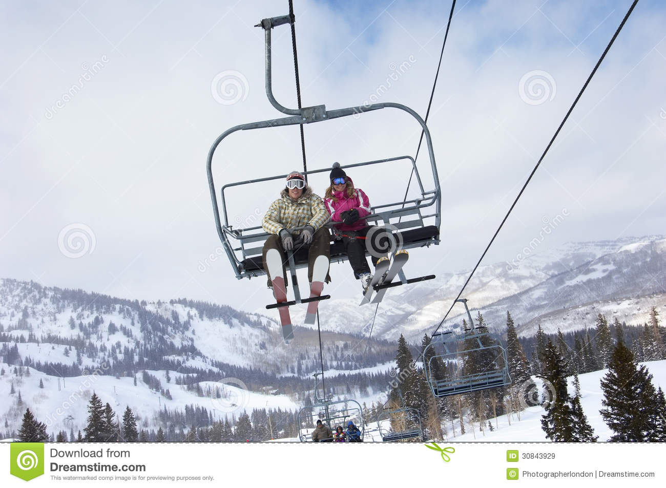 Couple Sitting On Ski Lift Stock Image Image Of Leisure