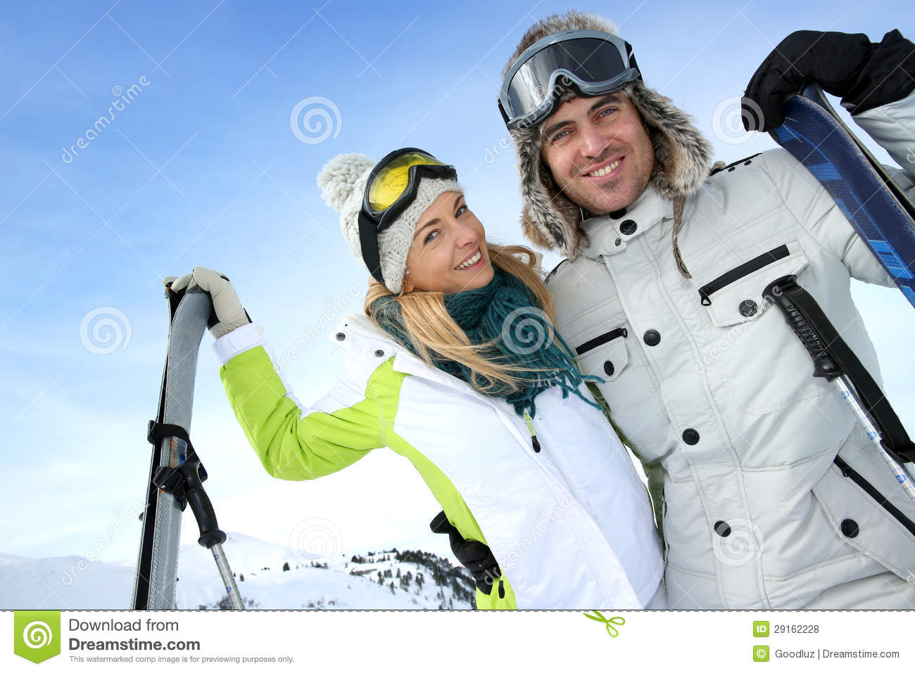 Couple in ski winter vacation