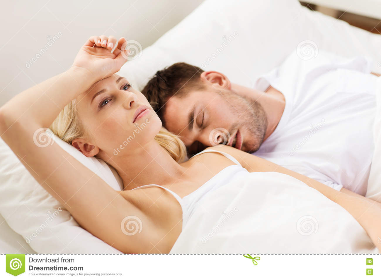 couple sleeping in bed at home stock image image of people asleep