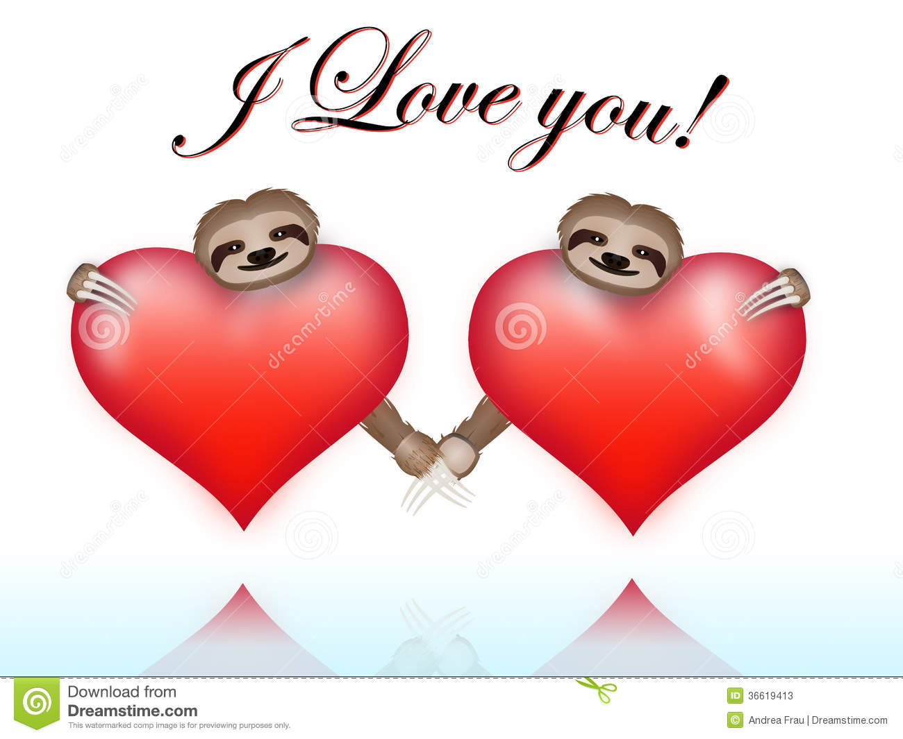 Schön Couple Sloths On Valentines Day Stock Photos