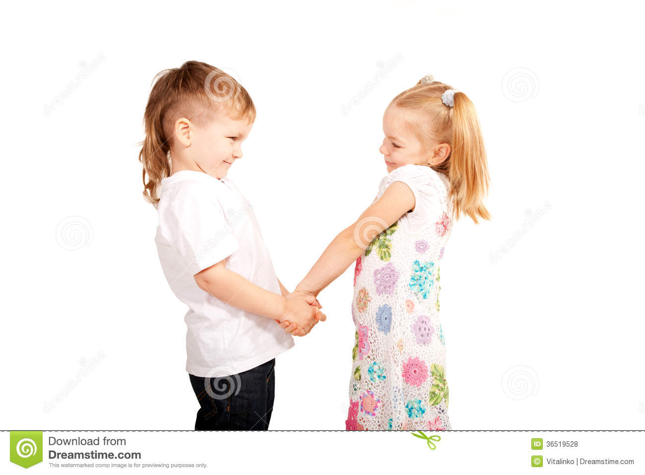 couple small children holding hands stock photo image