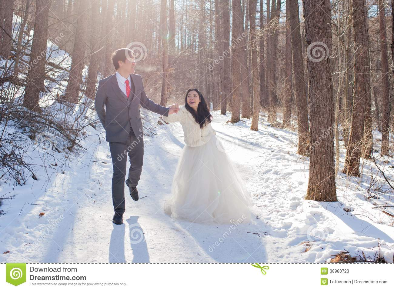 Couple on the snow road