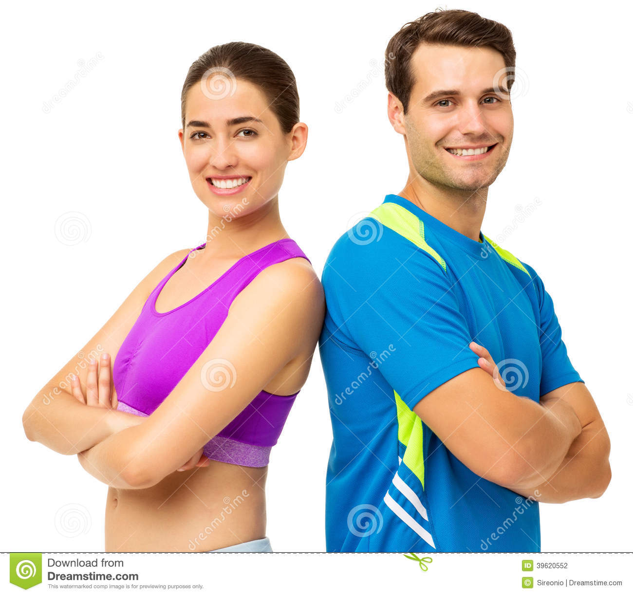 Couple In Sports Wear Standing Back To Back Stock Photo