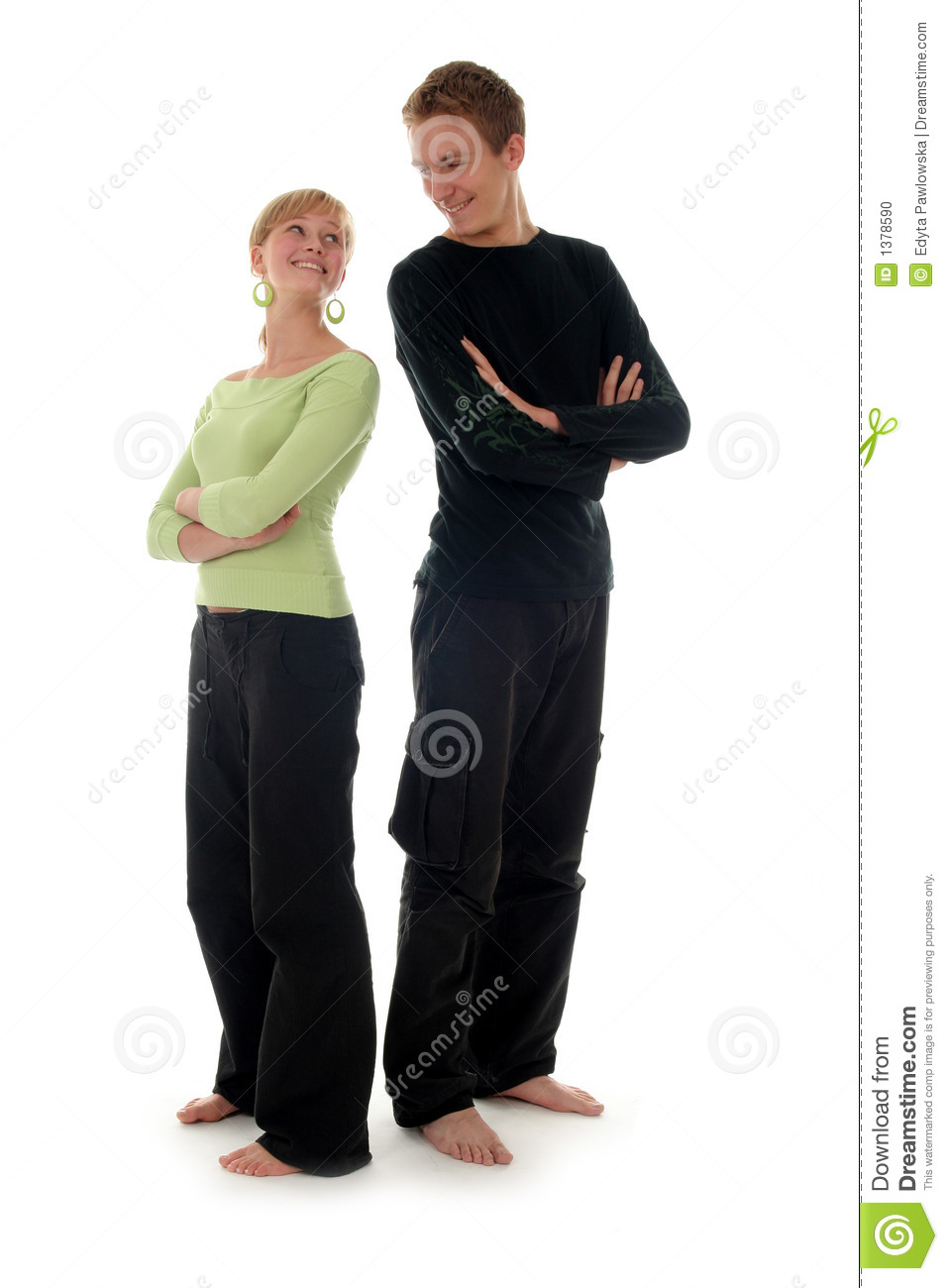couple standing back to back stock photo image 1378590