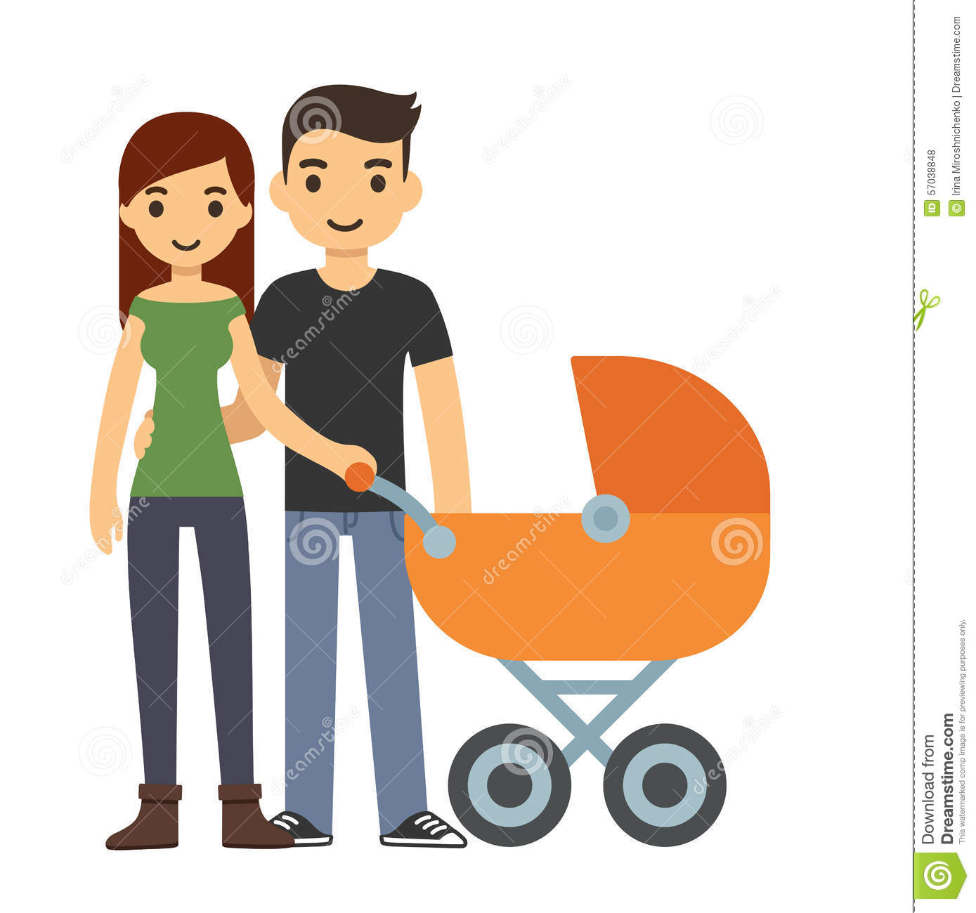 Young Couple Cartoon Couple With Stroller S...