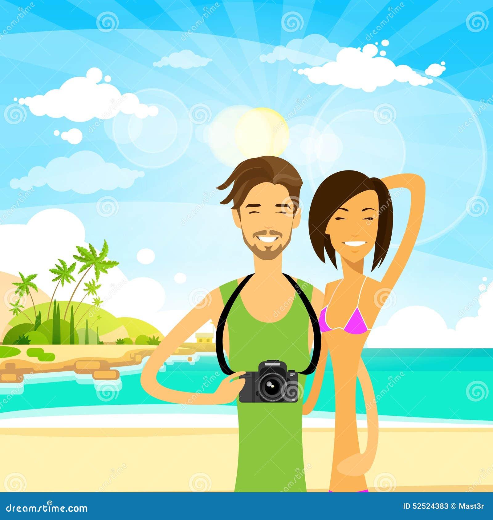 Couple Summer Travel Vacation Sea Ocean Beach Man Stock