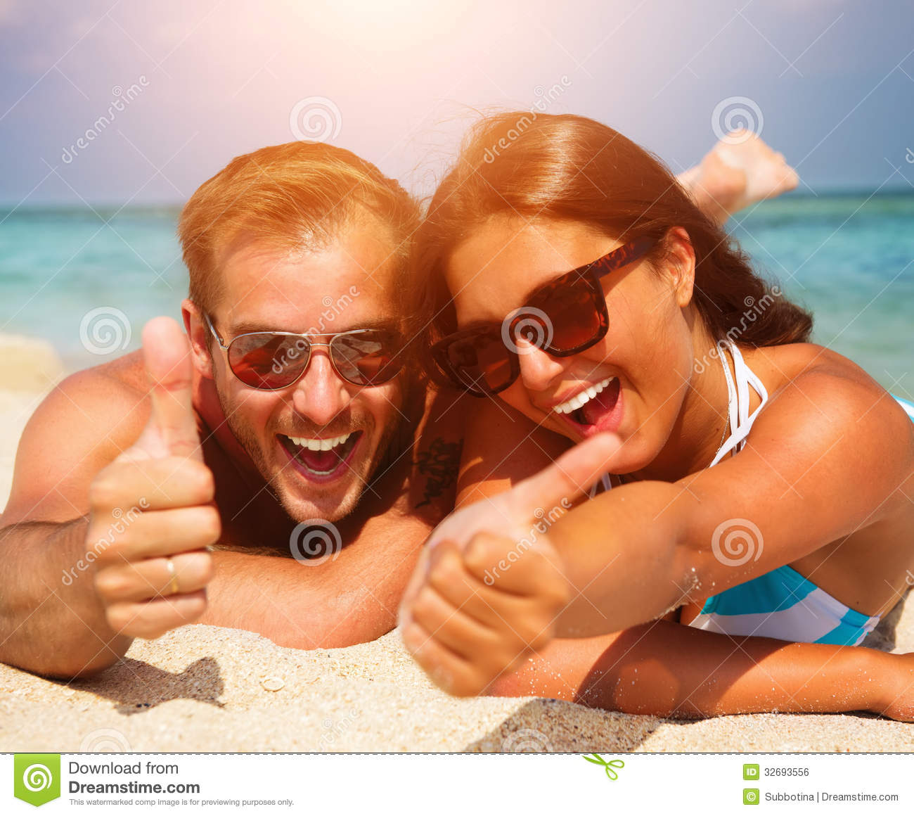 Couple At The Beach Stock Image Image Of Caucasian: Couple In Sunglasses On The Beach Royalty Free Stock Image