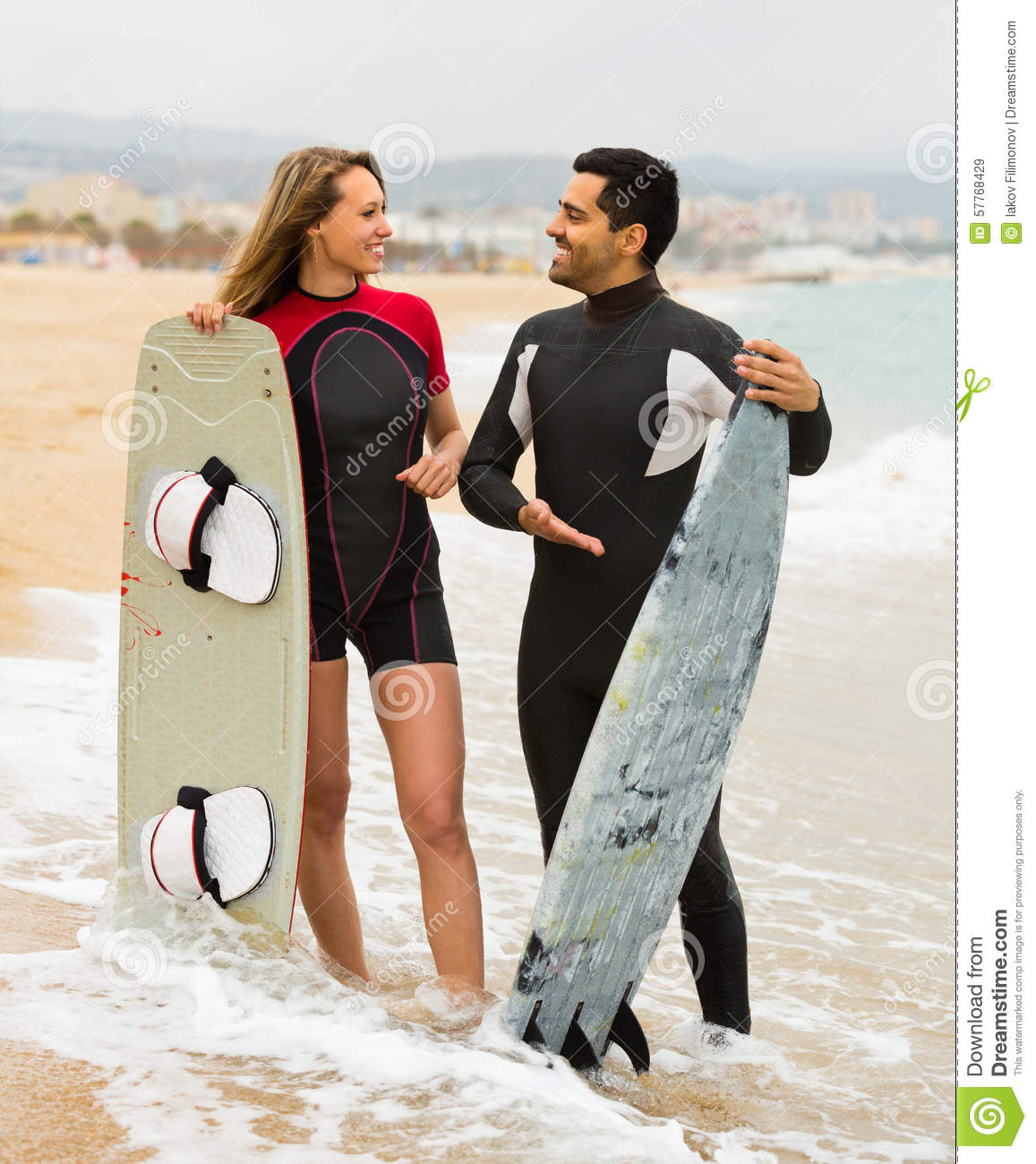 Couple At The Beach Stock Image Image Of Caucasian: Couple With Surf Boards On The Beach Stock Image