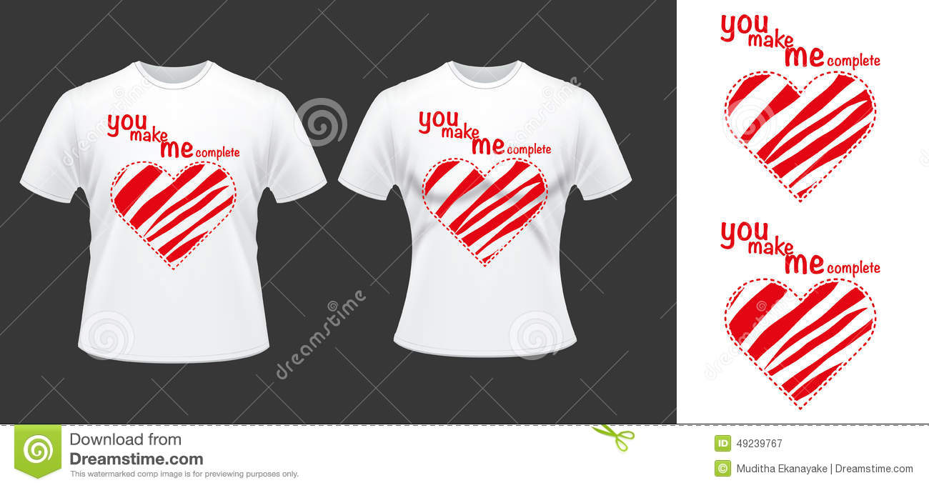 Couple t shirt desdign with hearts stock vector for Best couple t shirt design