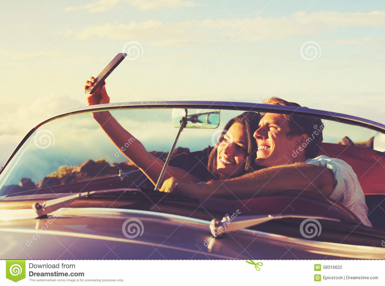 Couple Taking A Selfie In Car At Sunset Stock Photo Image Of Happiness Happy 58316622