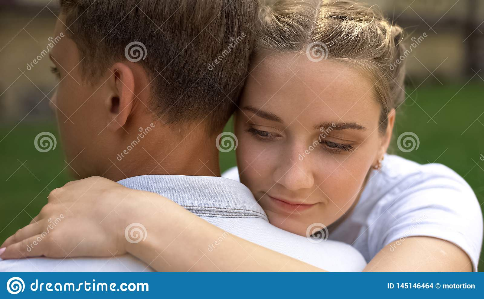 Couple Of Teenagers Embracing Each Other First Love Tender Relationship Youth Stock Photo Image Of Male Love 145146464