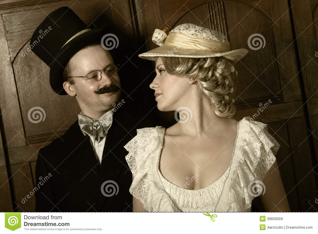 couple in th century garment w in dominant role stock couple in 19th century garment w in dominant role