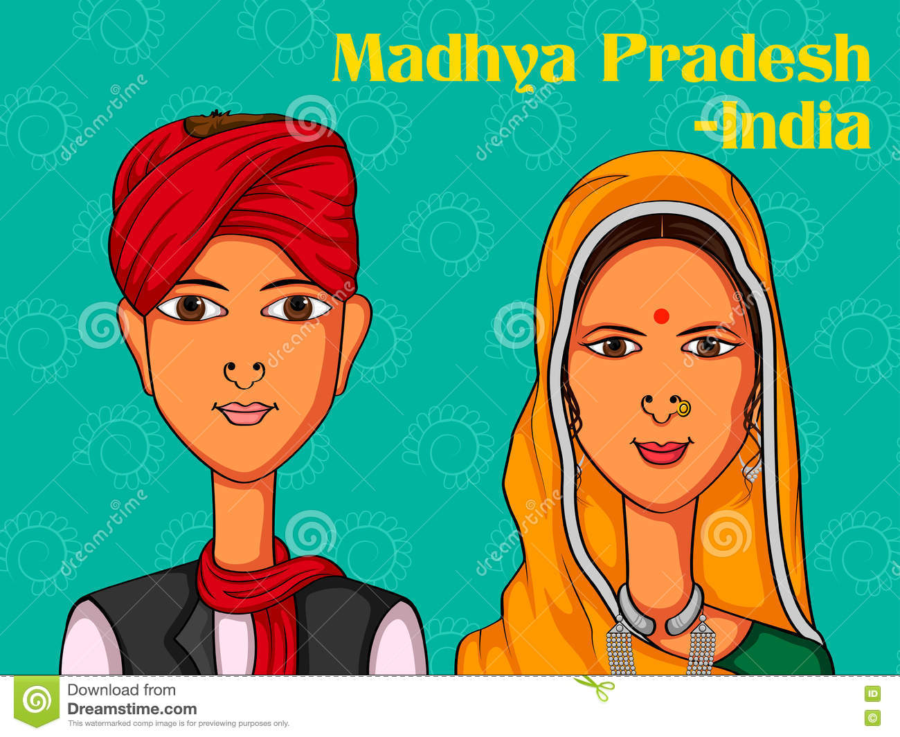 f54e1840ab Couple In Traditional Costume Of Madhya Pradesh, India Stock Vector ...
