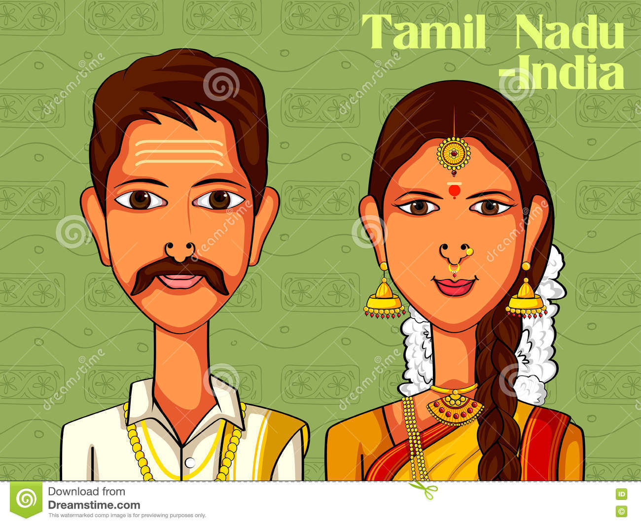 880408810e Vector design of Tamil Couple in traditional costume of Tamil Nadu, India