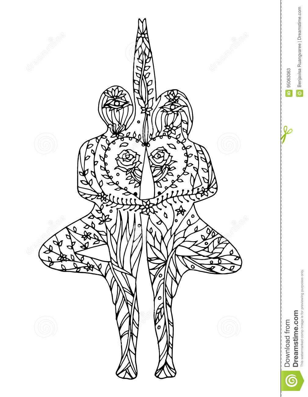 Couple tree pose yoga 7 chakra vector flower floral drawing hand drawn