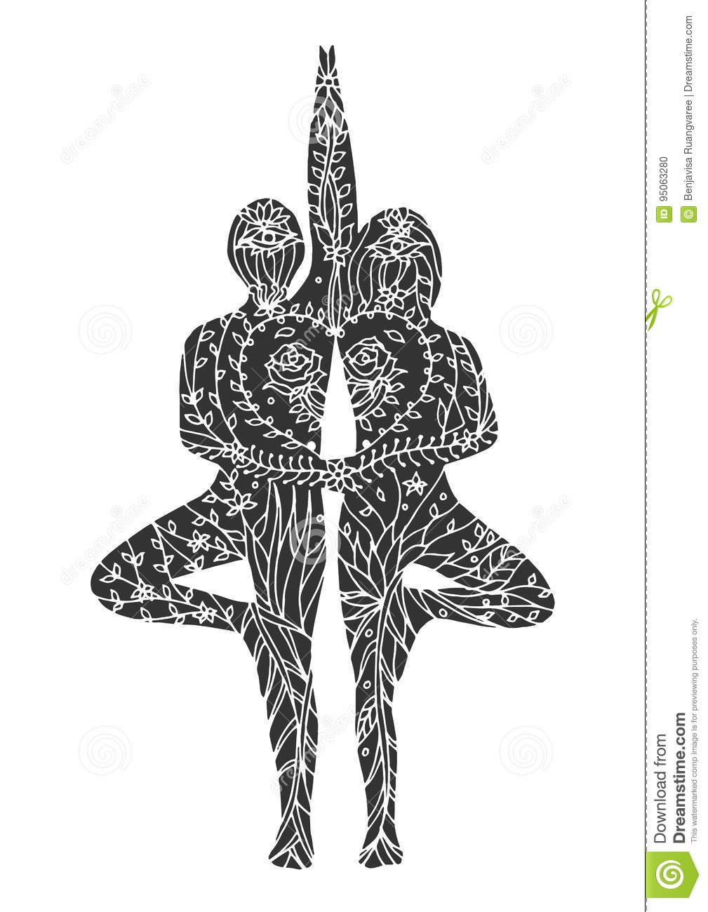 Couple tree pose yoga 7 chakra vector flower floral drawing