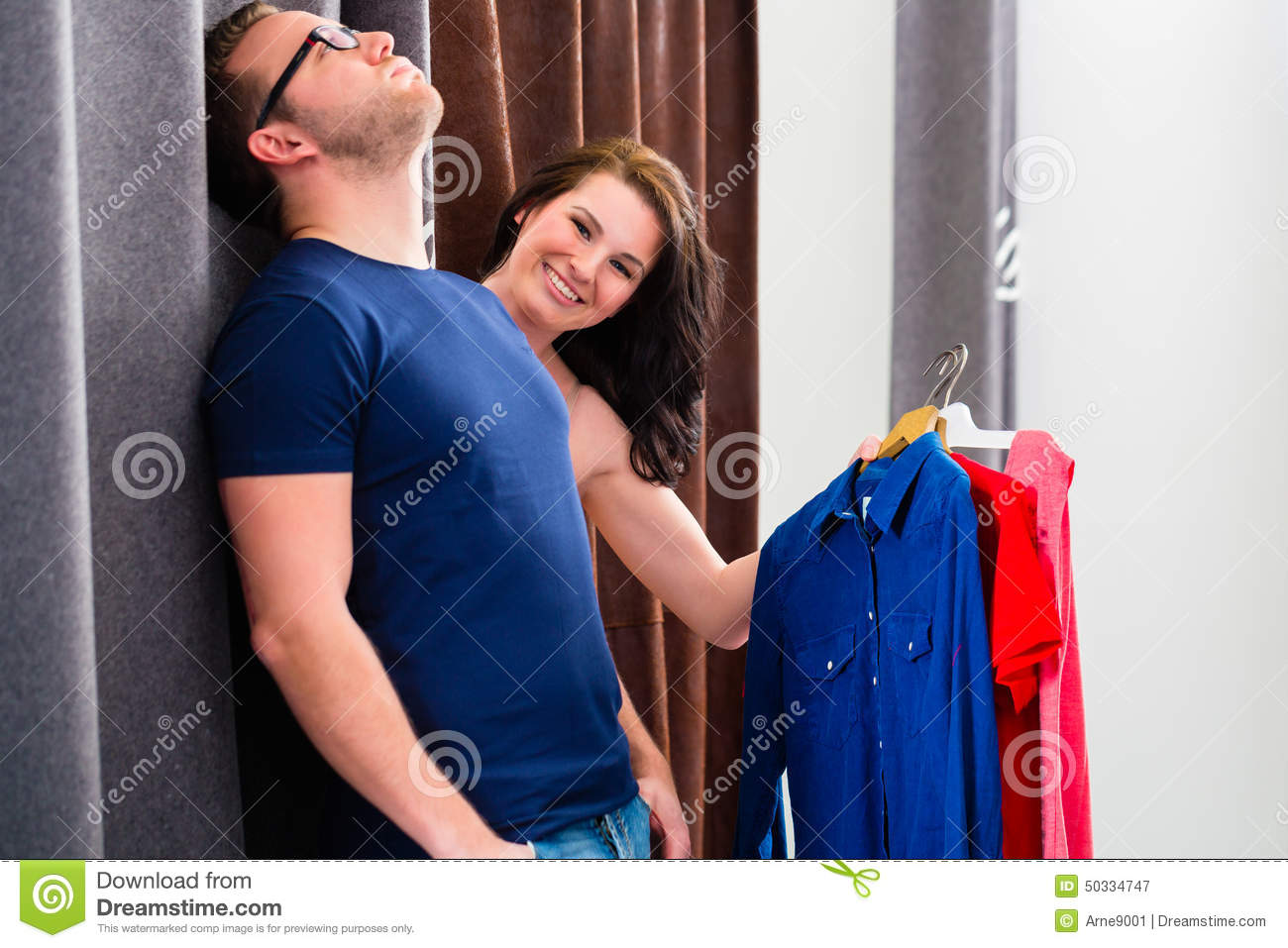 Woman In Changing Shop Room