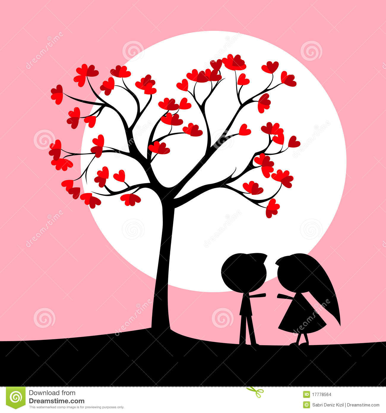 Couple under love tree stock vector. Illustration of image ...