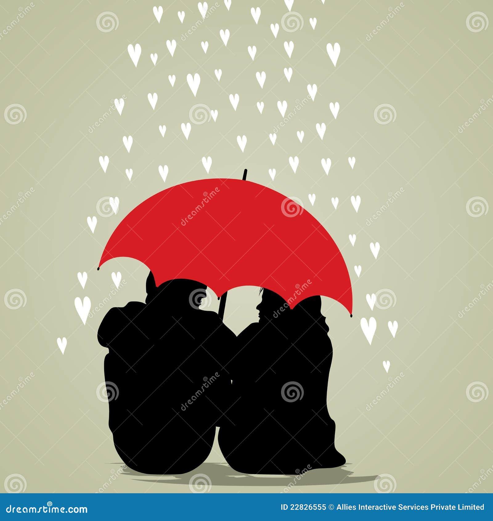 Silhouette Couple Under Umbrella Couple under umbrella on rainy