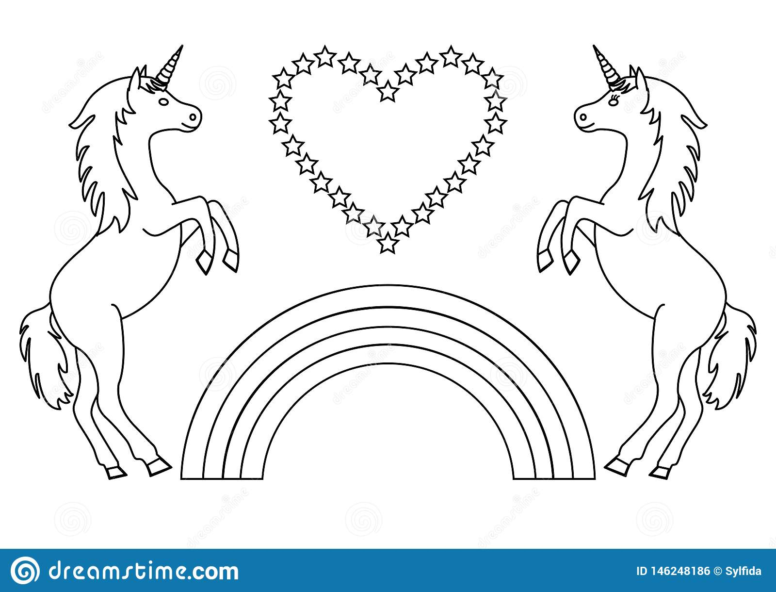 Couple Unicorns With Rainbow And Heart With Stars ...