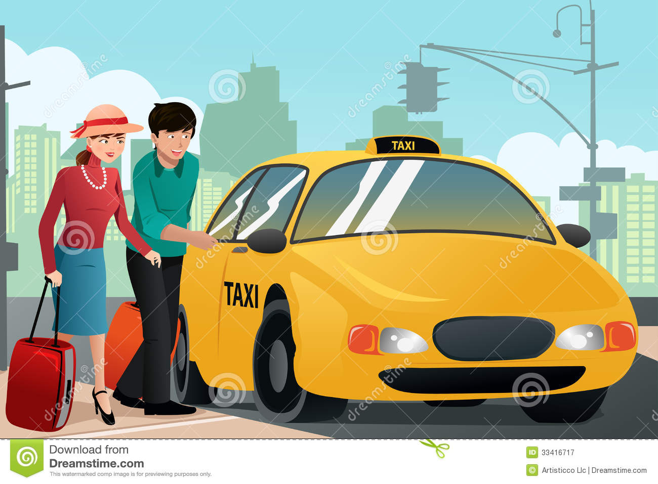 Couple on vacation calling a taxi