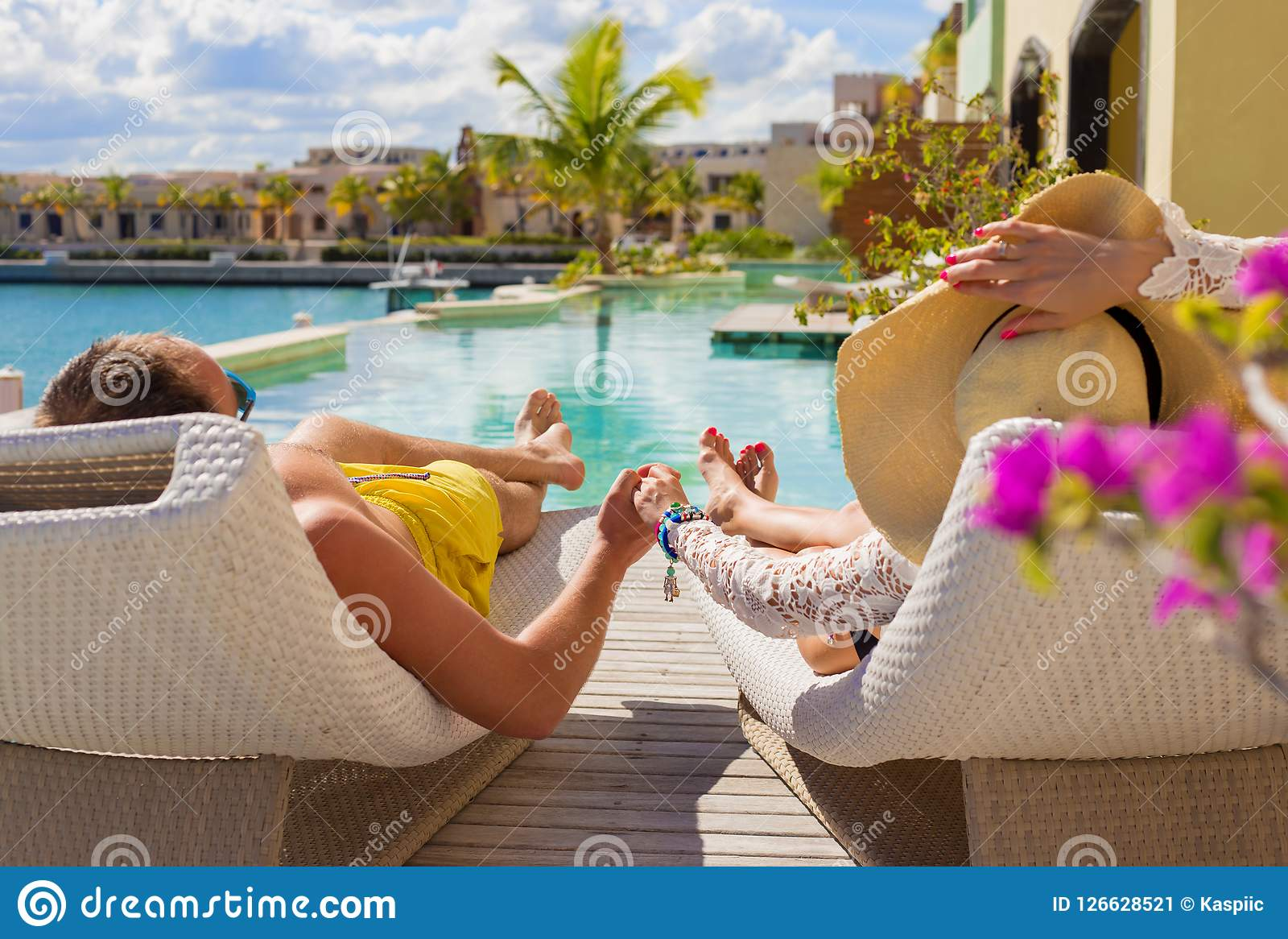 Couple On Vacation In Luxury Resort Stock Image  Image of