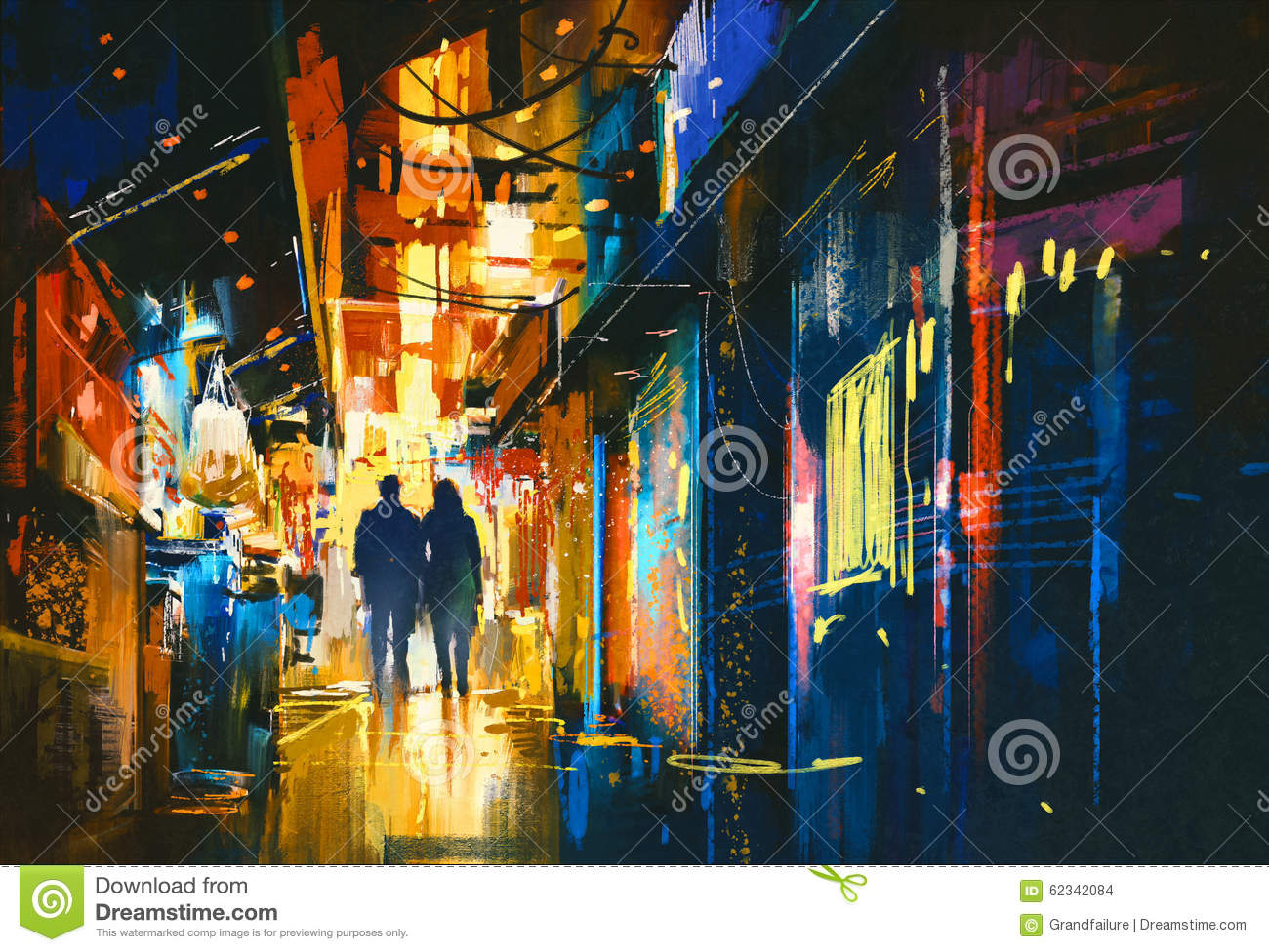 Couple walking in alley with colorful lights