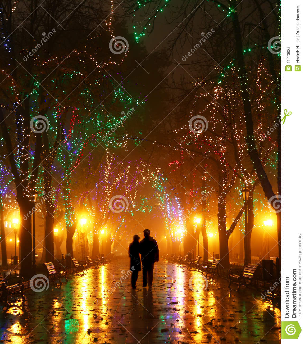 Couple Walking At Alley In Night Lights Stock Photography ...