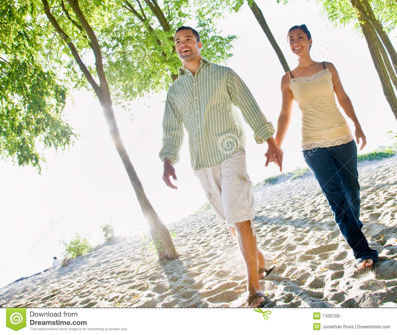 Couple Walking Holding Hands At Beach Stock Photo
