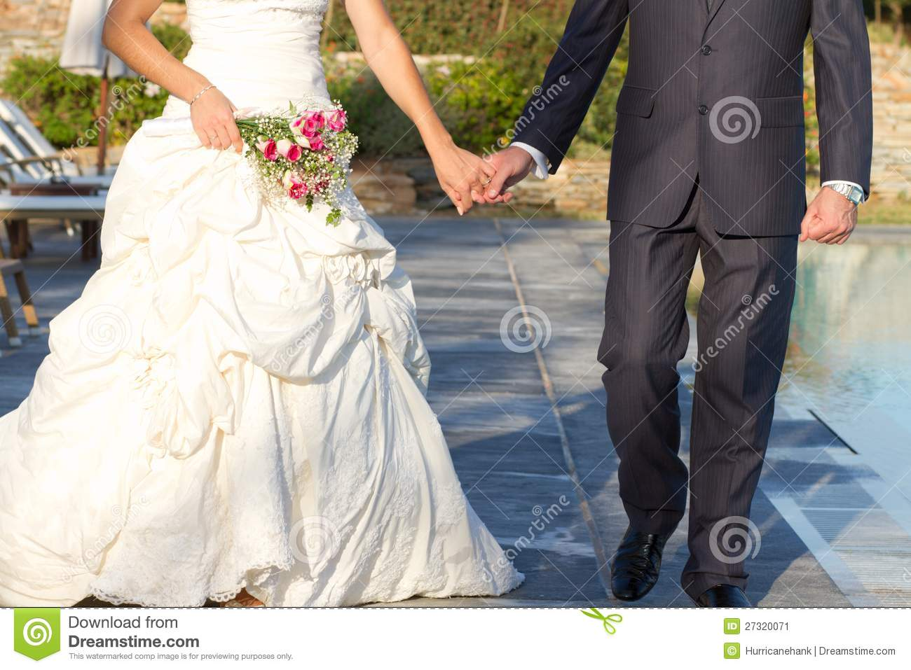 Couple walking after wedding ceremony stock image image 27320071