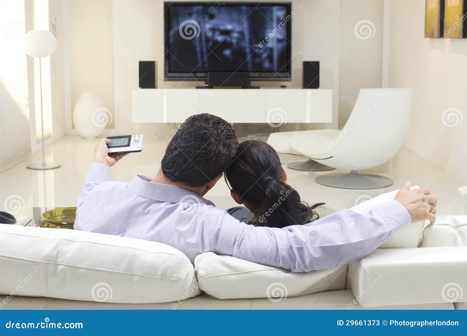 Couple Watching Tv Stock Image Image Of Around