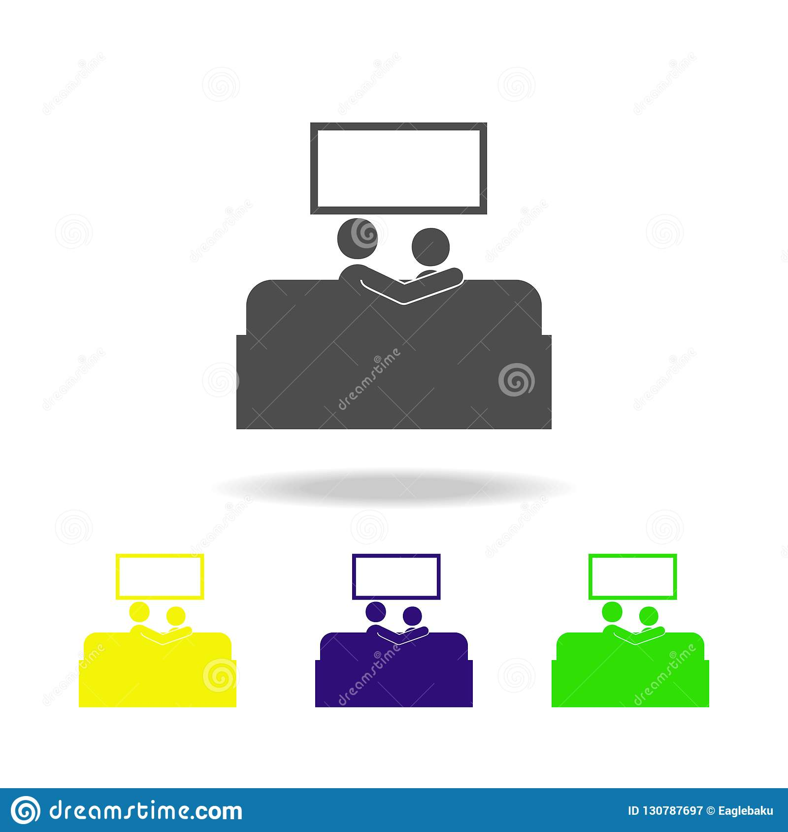 Couple watching TV multicolored icons. Element of life married people illustration. Signs and symbols collection icon for websites