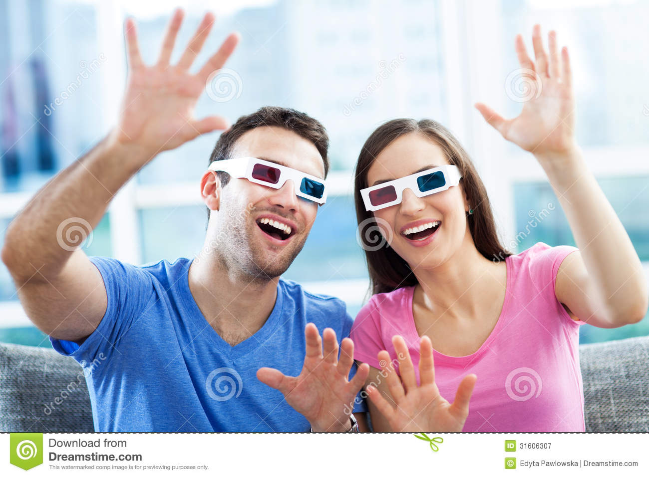 Couple Wearing 3d Glasses Royalty Free Stock Photography ...