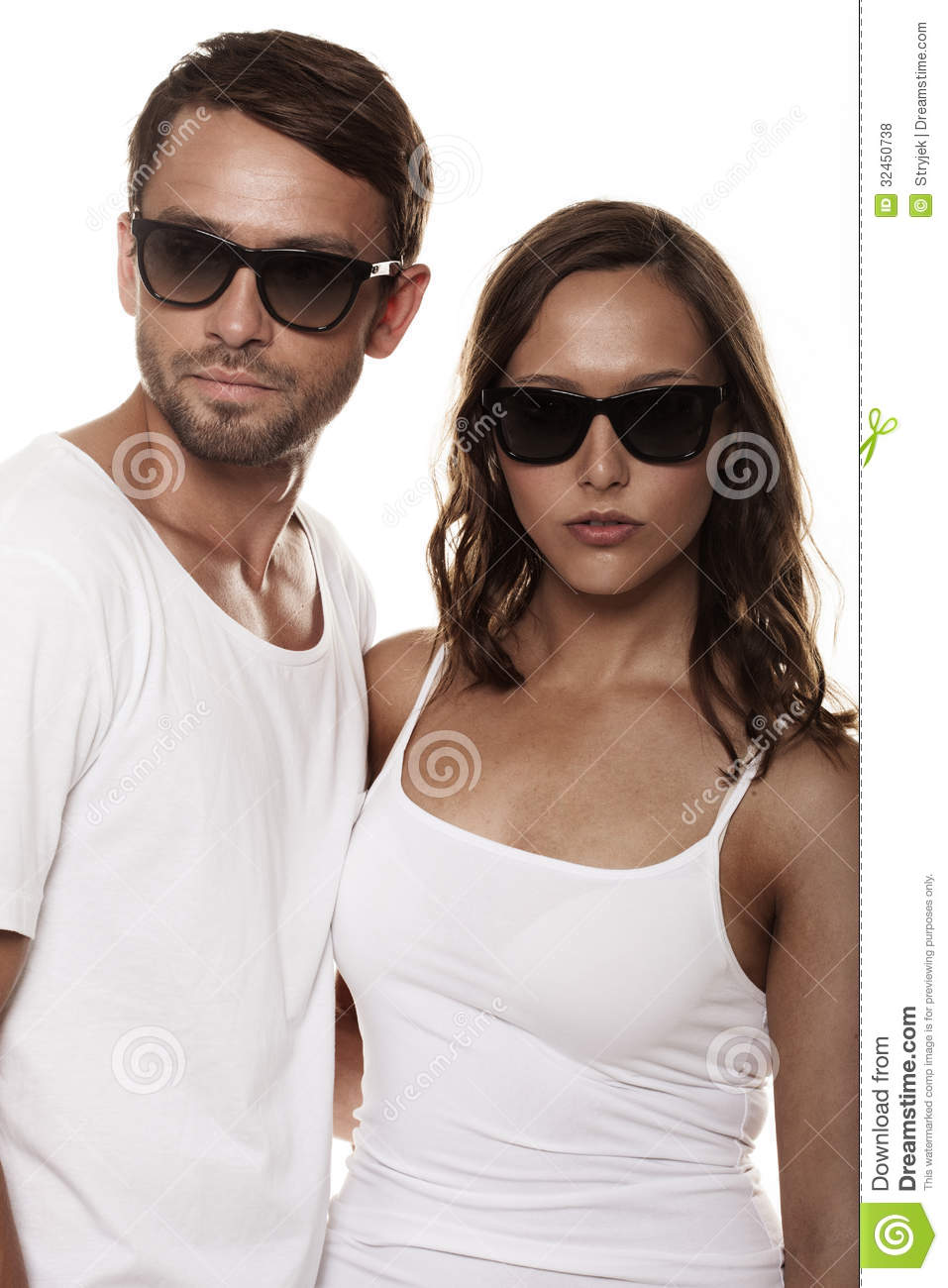 dc6e8ac3560 Couple wearing sunglasses stock photo. Image of shades - 32450738