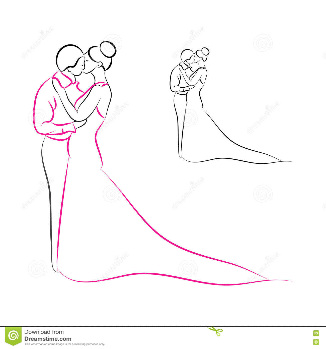 bride and groom outline