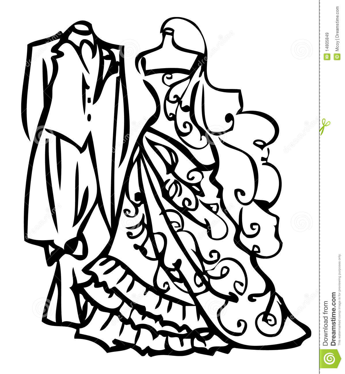 Couple wedding dress white and black stock illustration