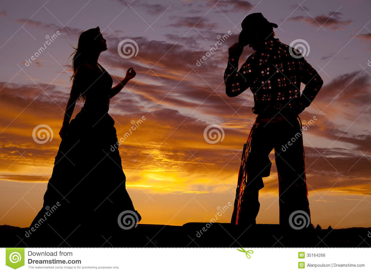 Couple Western Silhouette Royalty Free Stock Image Image
