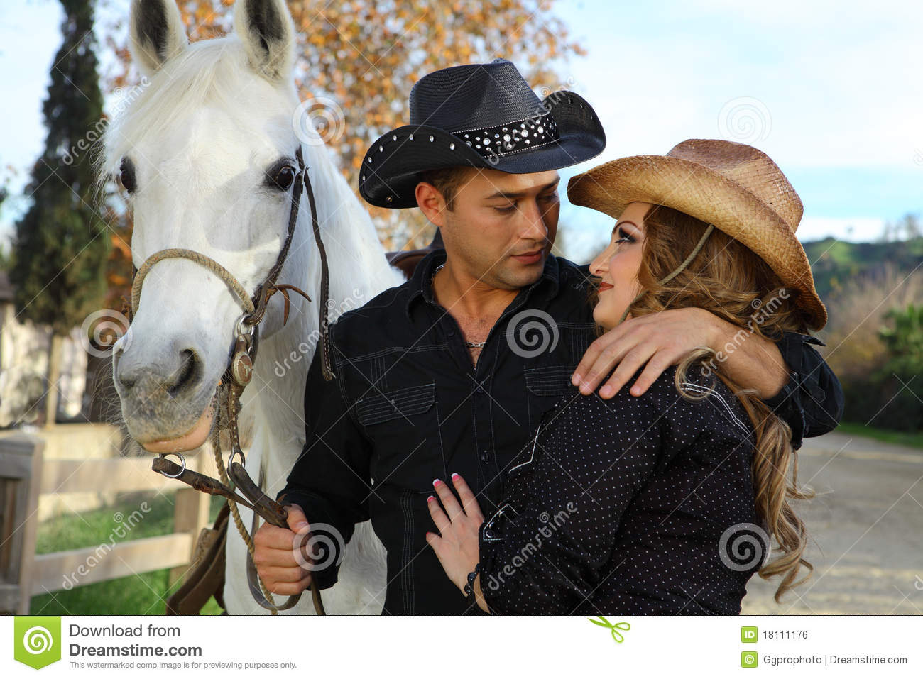Couple with white horse stock photo. Image of dating ...