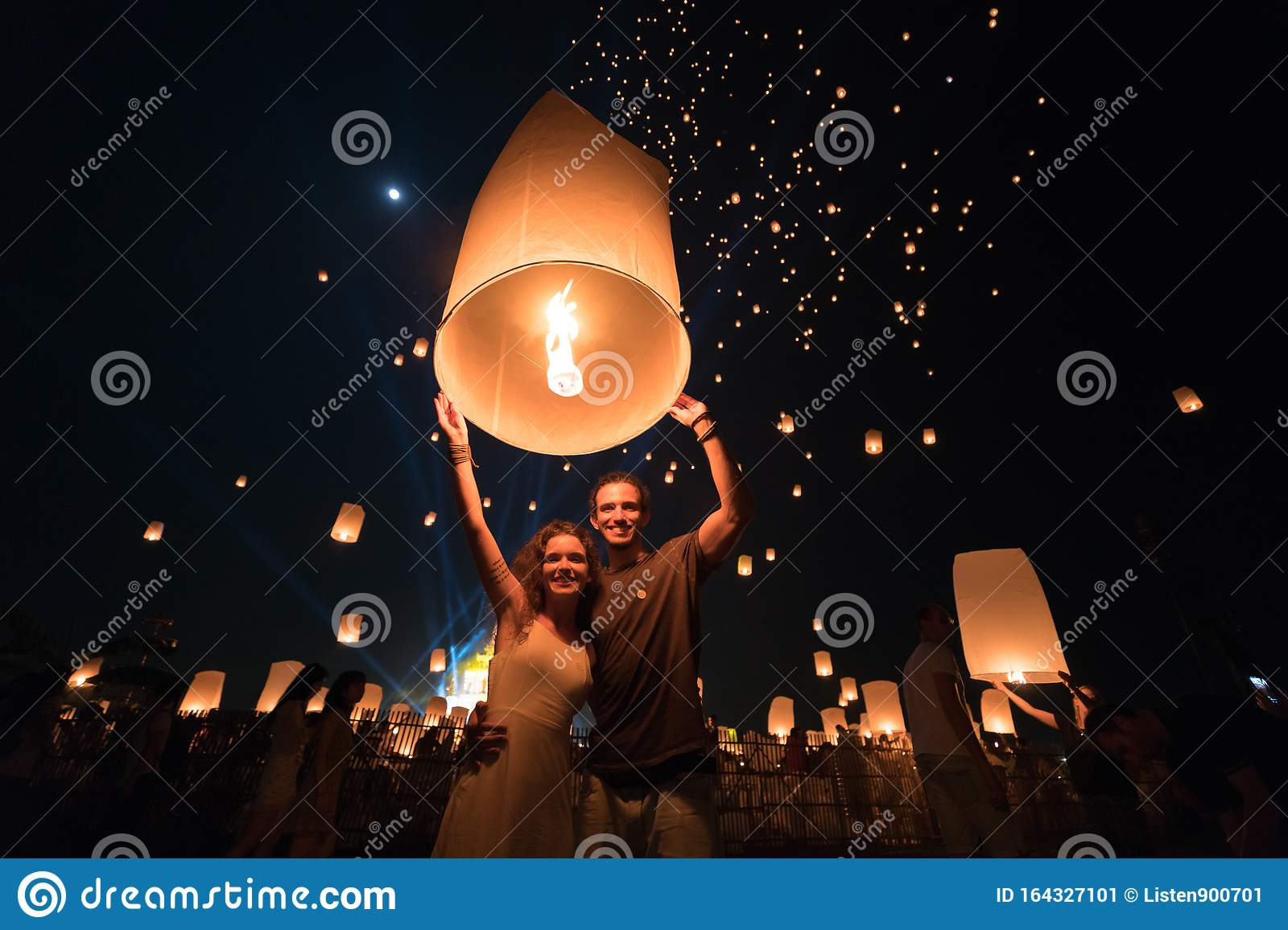 A Couple Who Is Going To Release A Lantern During Chiang Mai Lantern Festival Editorial Photo Image Of Chiang Building 164327101