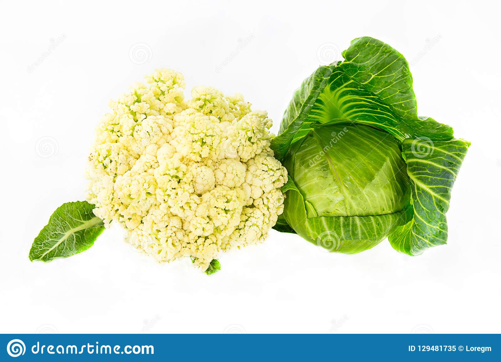 Couple of whole cabbage colored creamy surface with a young dark green leaves head out on a white isolated background