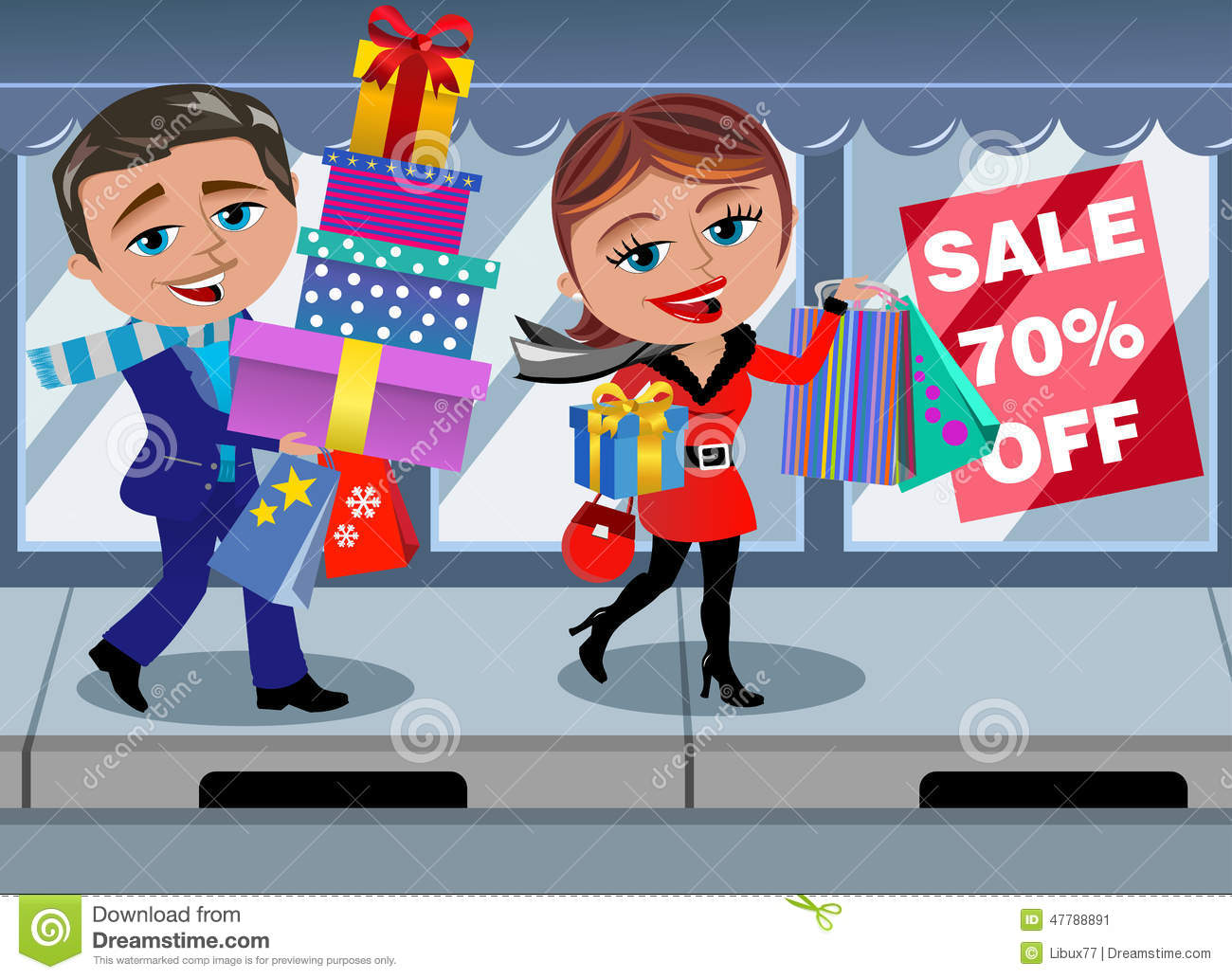 Download Couple Winter Shopping Sale Window Walking Shop Stock Vector - Illustration of customers, christmas: 47788891