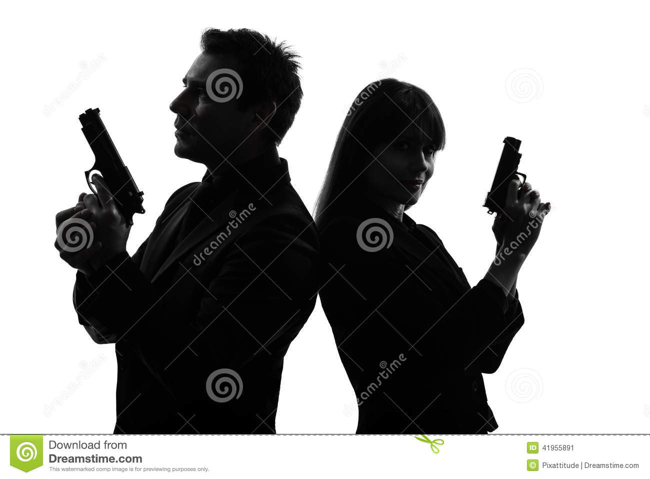 Couple Woman Man Detective Secret Agent Criminal Silhouette Stock ...