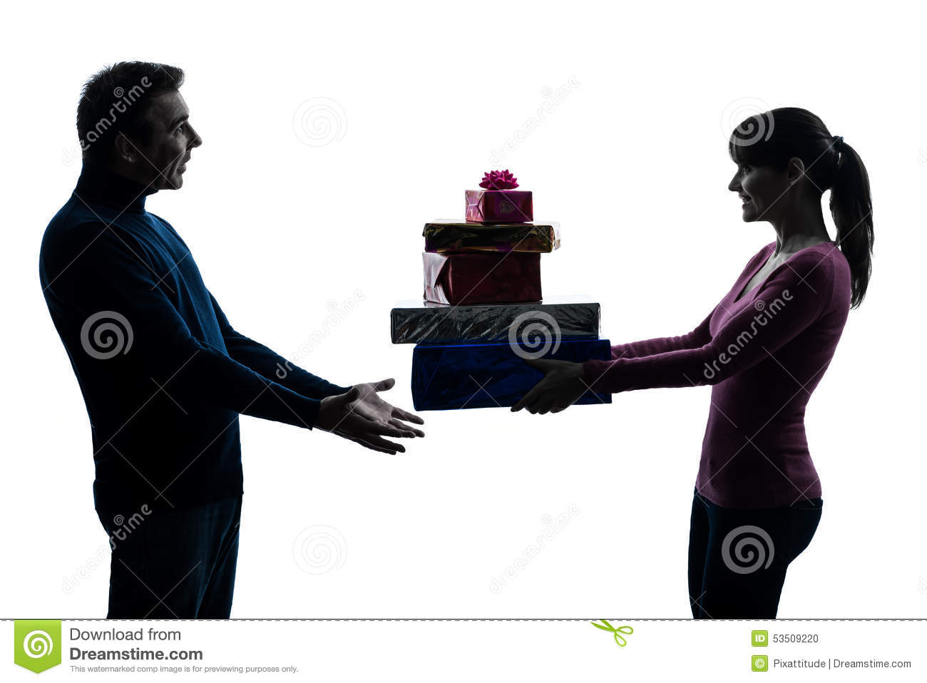 Couple woman man offering christmas gifts