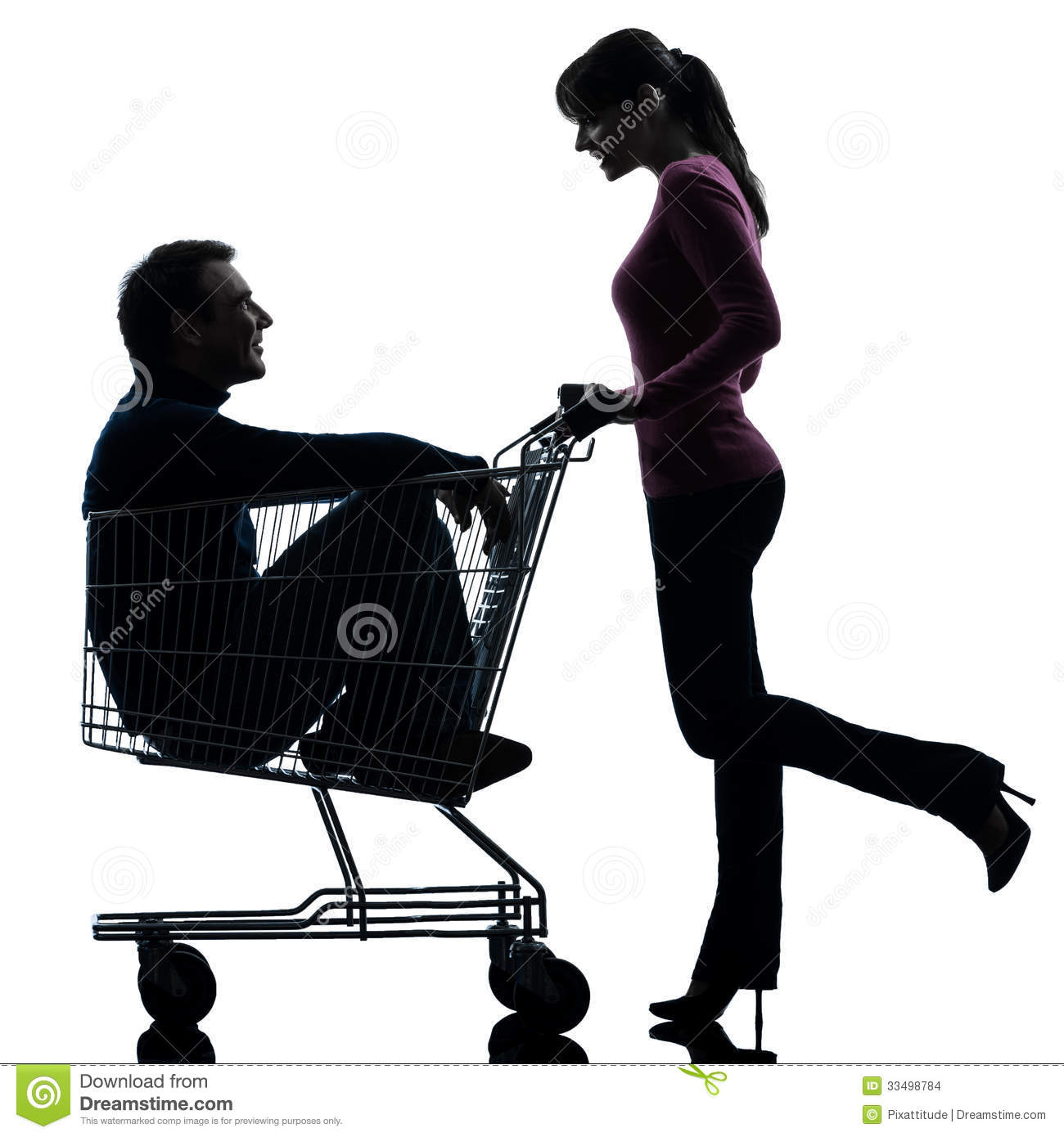 Couple Woman With Man Sitting In Shopping Cart Silhouette Stock Images ...