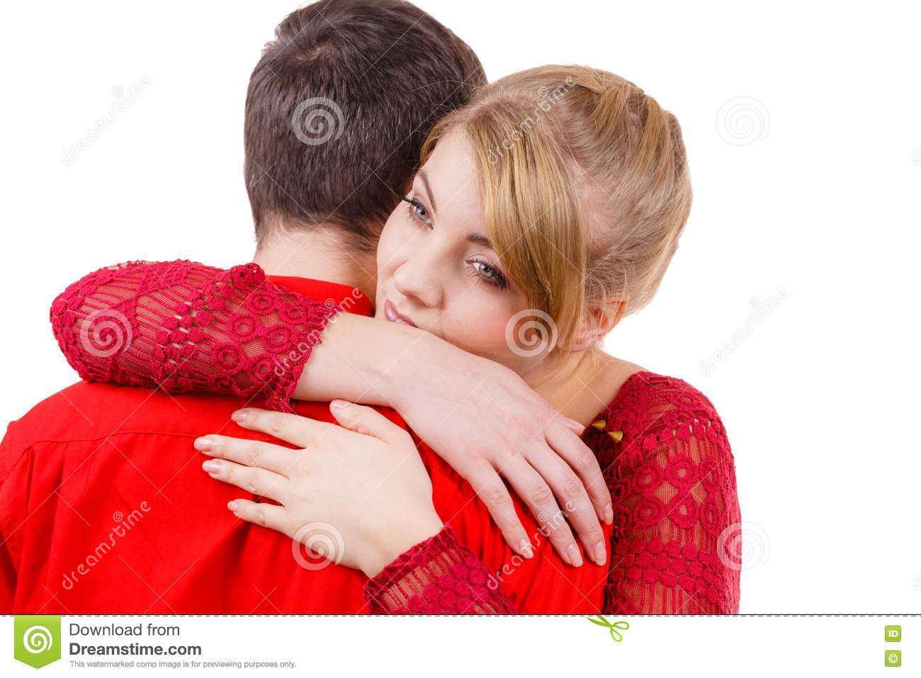Couple Woman Sad Being Consoled His Partner Stock Images ...