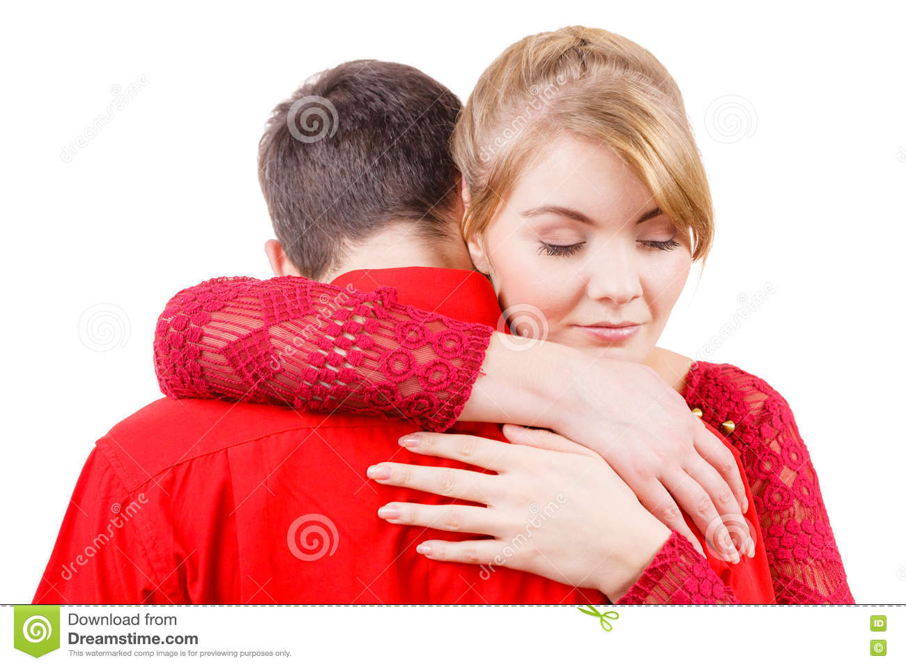 Couple. Woman Is Sad And Being Consoled By His Partner ...
