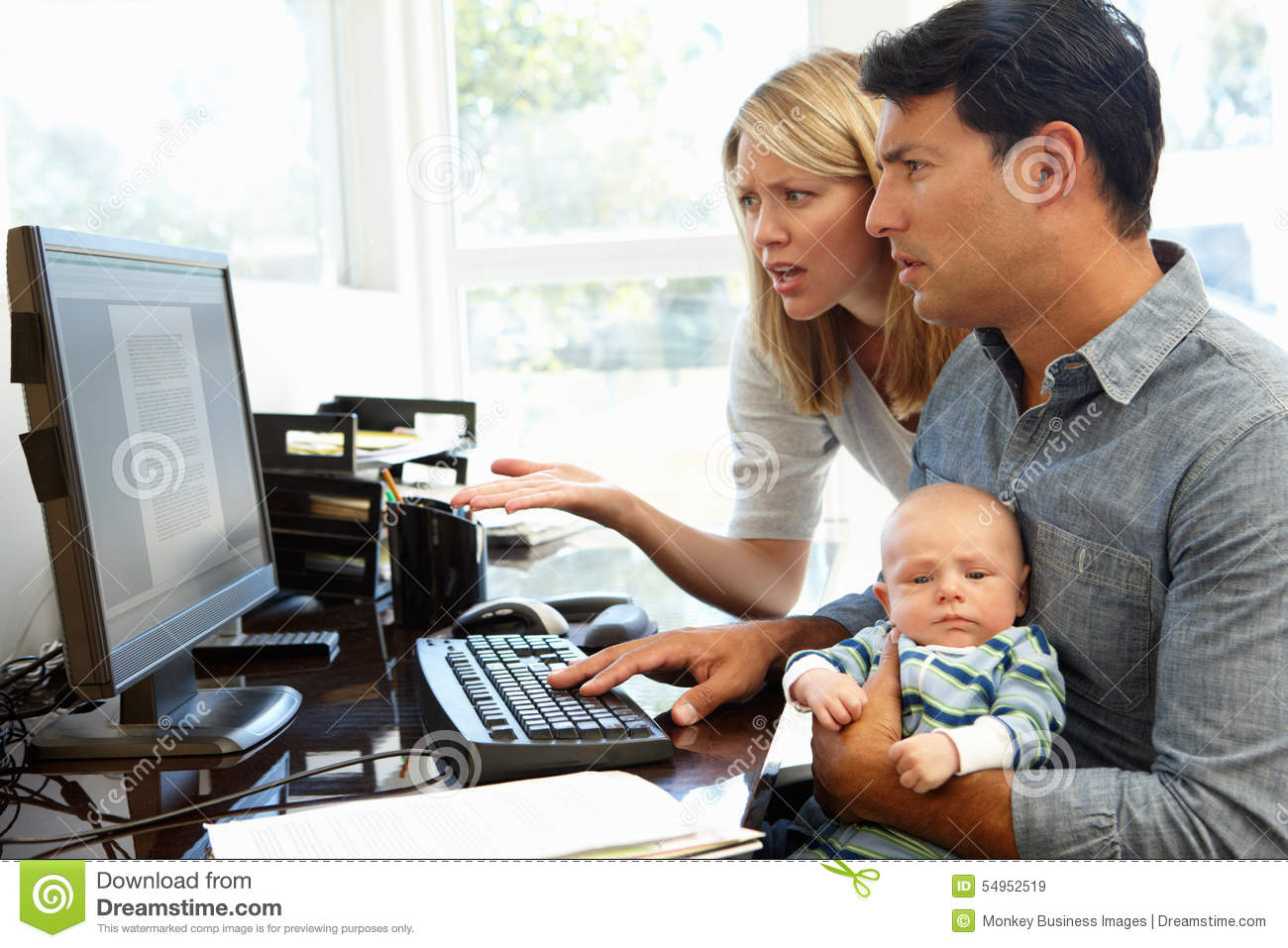 Couple Working In Home Office With Baby Stock Photo Image 54952519