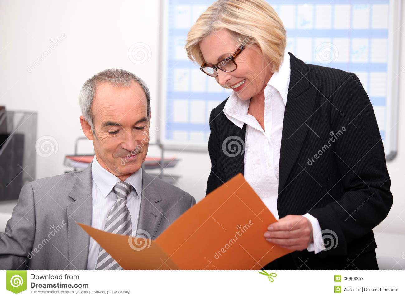 Couple working in an office