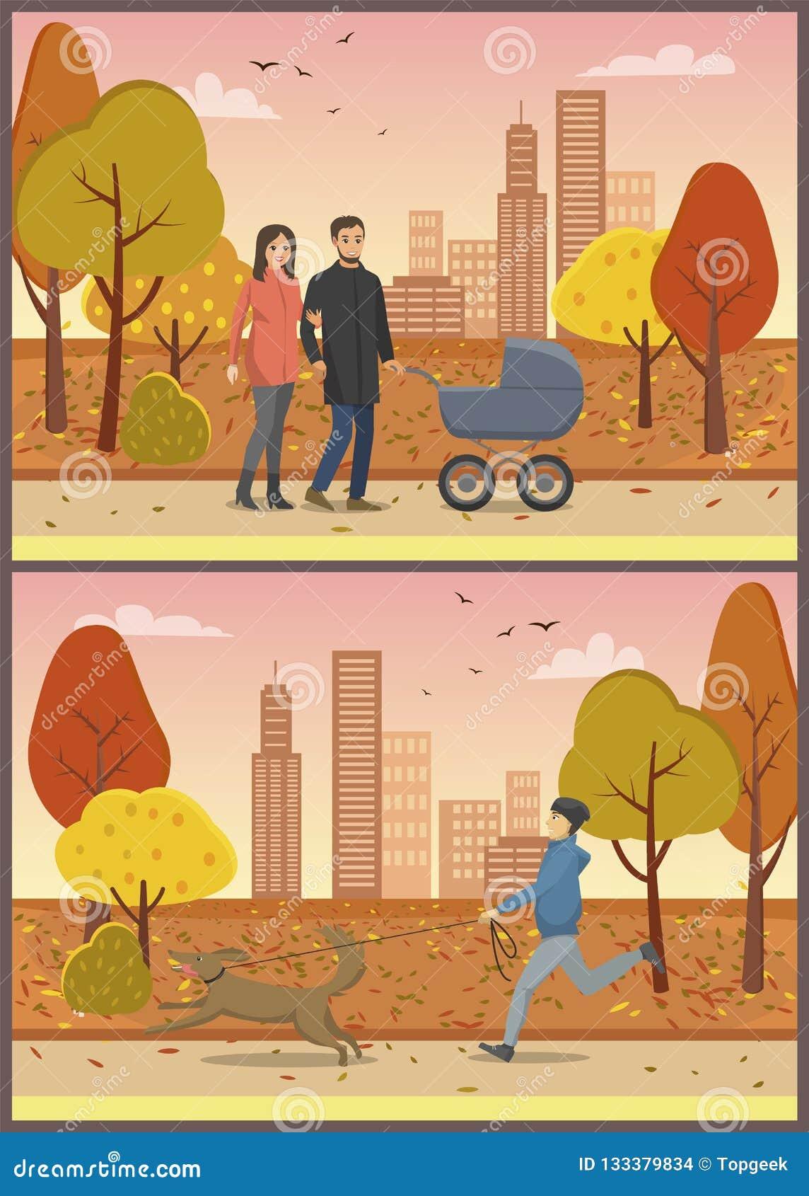 Couples dans l amour avec le vecteur d ensemble de parc de famille de landau